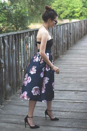 romwe skirt - pieces bag - Sheinside swimwear - officeshoes heels