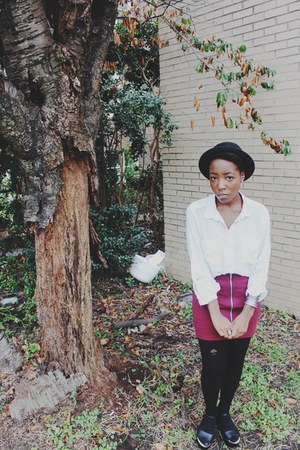 white chiffon H&M blouse - black UO hat - maroon front zipper Forever 21 skirt