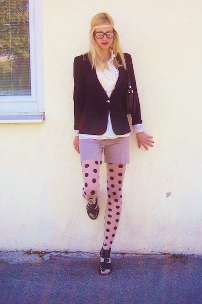 white H&M tights - black Zara blazer - tan Mango shorts