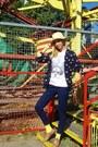 Beige-review-hat-navy-forever21-blazer-yellow-forever21-socks