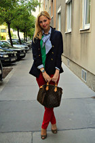 navy Pepe Jeans blazer - red Review jeans - brown Louis Vuitton bag