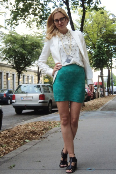 off white Zara blazer - off white Zara blouse - aquamarine UO skirt