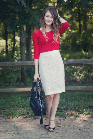 lace vintage skirt - BB Dakota dress - quilted theIT bag - elle wedges