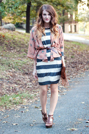 sweater f21 dress - fringe H&M bag - Target sandals - kimono f21 cardigan