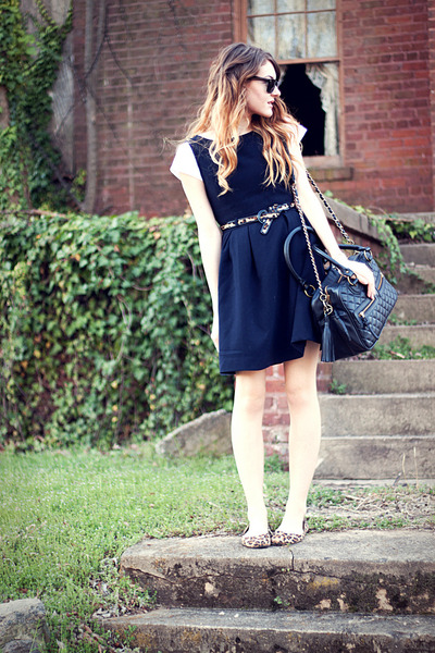 Target flats - f21 dress - quilted theIT bag