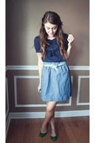 UO flats - f21 shirt - chambray Target skirt