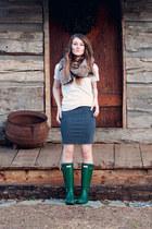 Hunter boots - faux fur f21 scarf