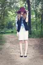 Karen Kane vest - Steve Madden shoes - Target hat - vintage skirt