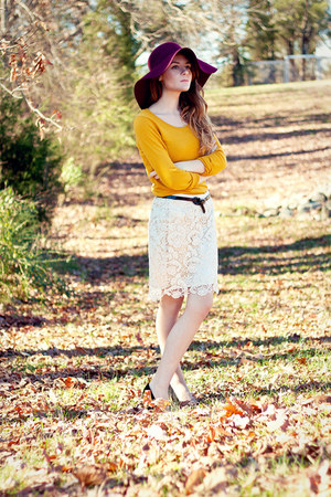 lace f21 skirt - floppy Target hat - Target sweater - missoni for target pumps