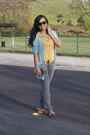 blue jason wu x target cardigan - grey Target jeans - yellow Forever 21 blouse