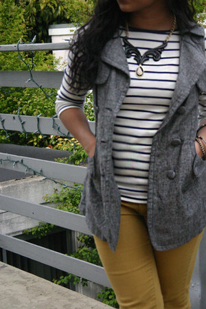 yellow Forever 21 jeans - leopard flats hm shoes - striped Zara shirt
