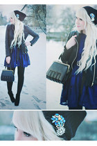 black beanie OASAP hat - blue lace dress OASAP dress