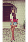 White-satin-moms-blazer-teal-self-customized-zara-shorts