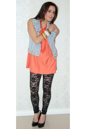 orange Forever 21 blouse - black Rachel Pally leggings - black Aldo shoes - DIY