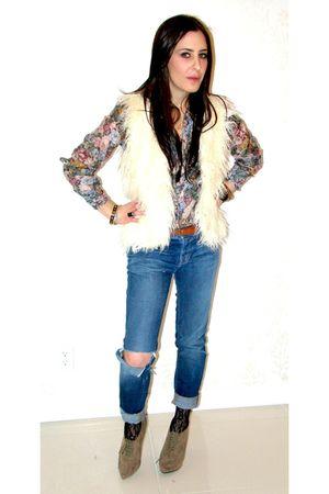 Zara blouse - blue J Brand jeans - white LF vest - beige Forever 21 shoes