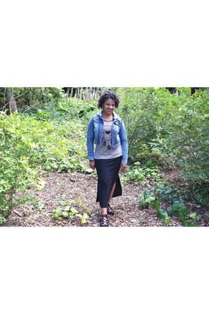 black Christian Soriano flats - blue denim Highway Jeans jacket