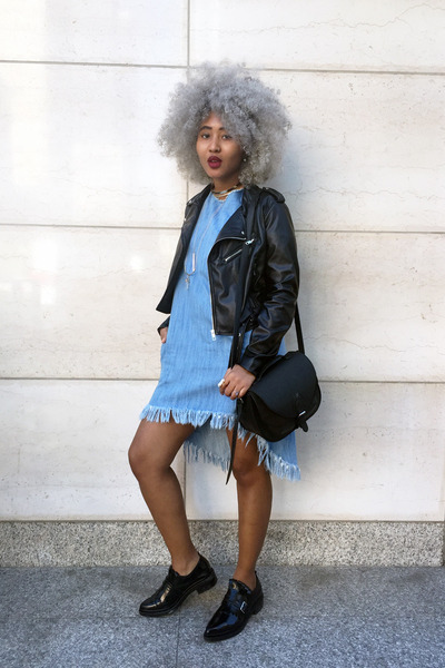 light blue oversized denim Zara dress - black faux leather Target jacket