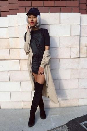 black H&M boots - black trf dress Zara dress - beige trench coat coat