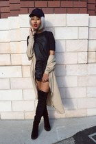 black H&M boots - black trf dress Zara dress - beige trench coat coat