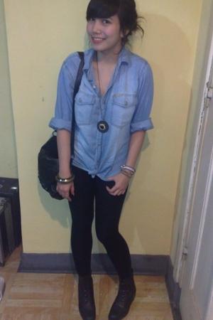 shirt - leggings - forever 21 accessories - Zara purse - boots