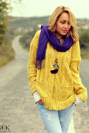 blue Mango jeans - deep purple Bershka scarf - yellow OASAP blouse