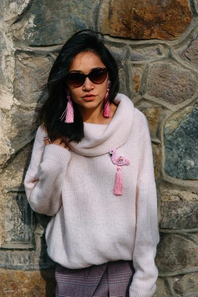 sky blue Stradivarius jacket - bubble gum H&M blouse