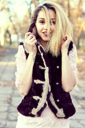 light pink OASAP dress - black OASAP necklace
