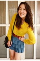 blue denim skirt Target skirt - vintage shirt - vintage bag - Kmart belt