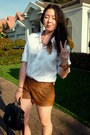 Bronze-faux-leather-shorts-shorts-white-shirt-shirt