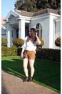 White-shirt-shirt-bronze-faux-leather-shorts-shorts