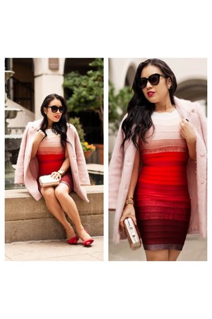 red dress - light pink Forever 21 coat - red heels