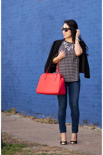 red kate spade bag - navy Henry & Belle jeans - black Loft blazer