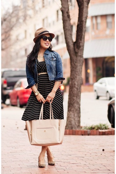 black striped dress - brown Nordstrom hat - blue Forever 21 jacket