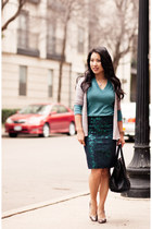 green floral brocade J Crew skirt - teal Gap sweater