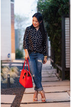 blue distressed Express jeans - navy french hen OASAP shirt - red kate spade bag