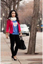 blue J Crew sweater - black black rag & bone jeans - hot pink Zara blazer