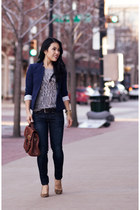 navy rag & bone jeans - navy Loft blazer - brown Vieta bag