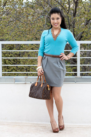 brown Aldo shoes - aquamarine Express shirt - heather gray Urban Outfitters skir