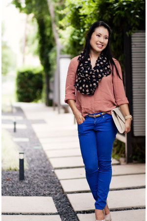 black polka dot Chicos scarf - beige Sole Society shoes - blue asos jeans