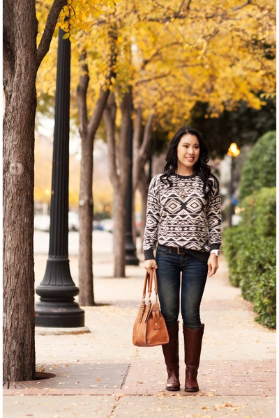 charcoal gray Forever 21 sweater - brown Frye boots - navy BDG jeans