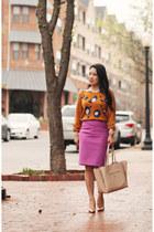 carrot orange animal print Target sweater - beige ann taylor purse