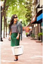black JCrew blouse - blue American Eagle jacket - dark green JCrew skirt