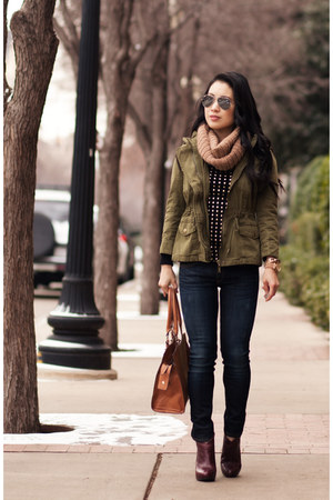 army green Forever 21 jacket - navy rag & bone jeans