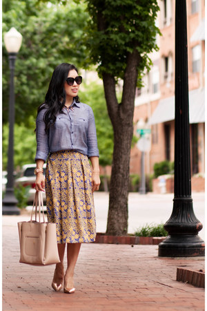 blue floral white plum skirt - violet chambray Urban Outfitters shirt