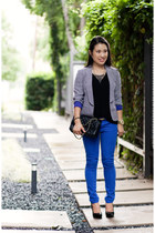 blue Loft jacket - black Loft t-shirt - blue asos pants - gold ann taylor belt
