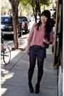 Black-jessica-simpson-boots-light-pink-chiffon-sheer-forever-21-shirt