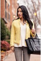 yellow Sheinside blazer - heather gray BDG jeans - ivory banana republic sweater