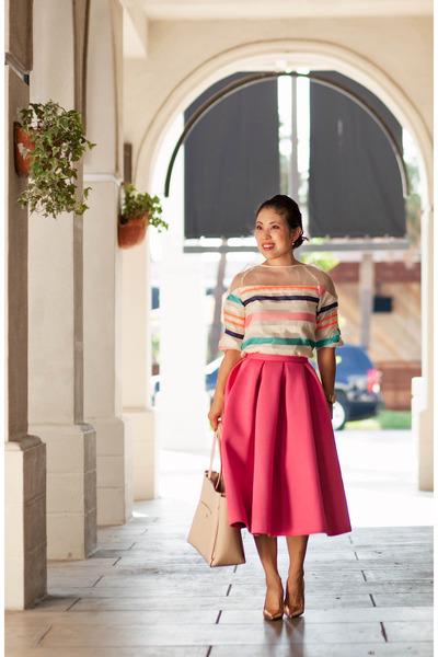 bubble gum midi Choies skirt - ivory stripes OASAP shirt