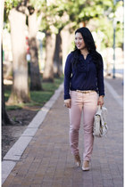 navy polka dot Loft shirt - light pink Loft pants