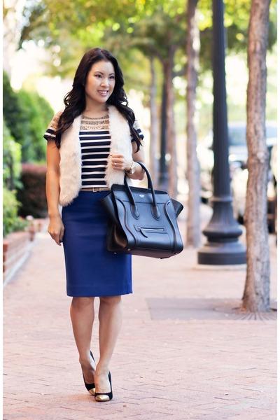 ivory fur JCPenney vest - black ann taylor shirt - blue J Crew skirt